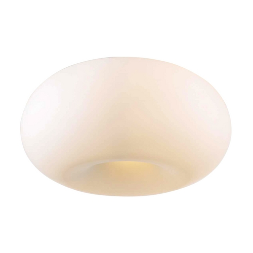 PLC Lighting Modern Flushmount Light with White Glass in Satin Nickel Finish 21145 SN