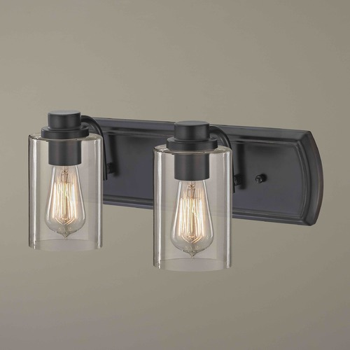 Design Classics Lighting Industrial 2-Light Bath Wall Light in Bronze 1202-36 GL1040C