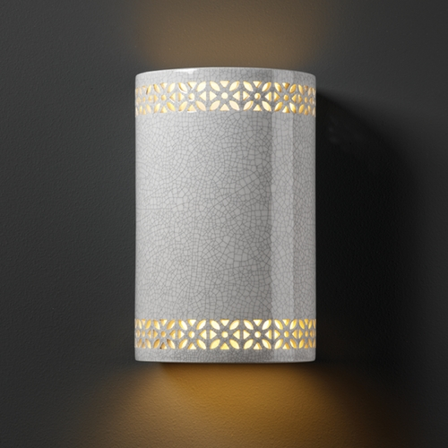 Justice Design Group Sconce Wall Light in White Crackle Finish CER-7805-CRK