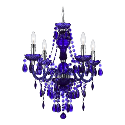 AF Lighting Mini-Chandelier with Swag Kit in Purple Finish 8681-4H
