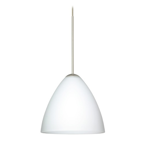 Besa Lighting Besa Lighting Mia Satin Nickel LED Mini-Pendant Light with Bell Shade 1XT-177907-LED-SN