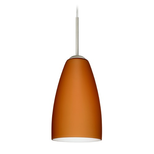 Besa Lighting Besa Lighting Riva Satin Nickel LED Mini-Pendant Light with Oblong Shade 1JT-151180-LED-SN