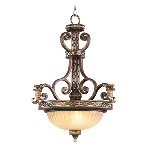 Livex Lighting Livex Lighting Seville Palacial Bronze with Gilded Accents Pendant Light with Bowl / Dome Shade 8548-64
