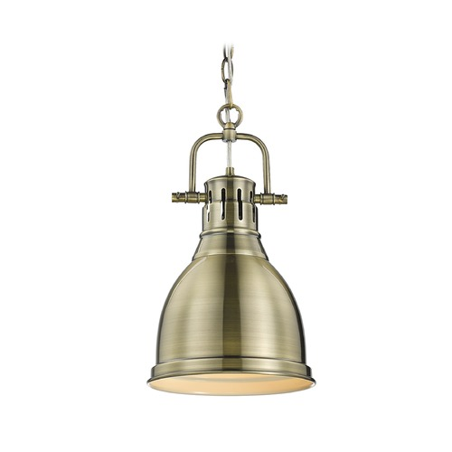 Golden Lighting Golden Lighting Duncan Aged Brass Mini-Pendant Light 3602-S AB-AB