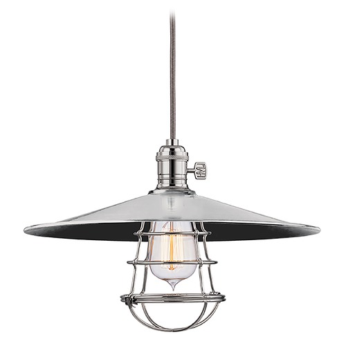 Hudson Valley Lighting Hudson Valley Lighting Heirloom Polished Nickel Pendant Light with Coolie Shade 8001-PN-MM1-WG