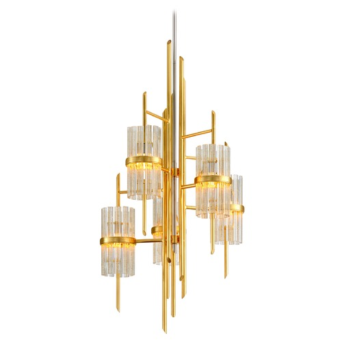 Corbett Lighting Corbett Lighting Gold Leaf with Polished Stainless Chandelier 257-75