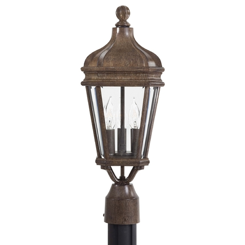 Minka Lavery Post Light with Clear Glass in Vintage Rust Finish 8695-61