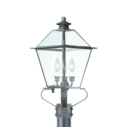 Troy Lighting Post Light with Clear Glass in Charred Iron Finish PCD8955CI