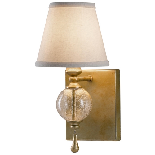 Feiss Lighting Sconce Wall Light with White Shade in Oxidized Silver Leaf Finish WB1487OSL