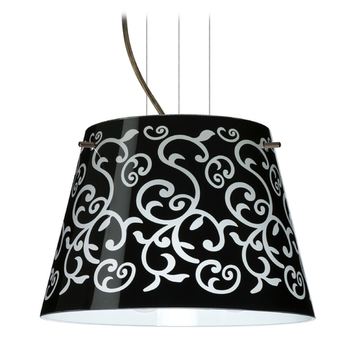 Besa Lighting Modern Drum Pendant Light with Black Glass in Bronze Finish 1KG-4393BD-BR