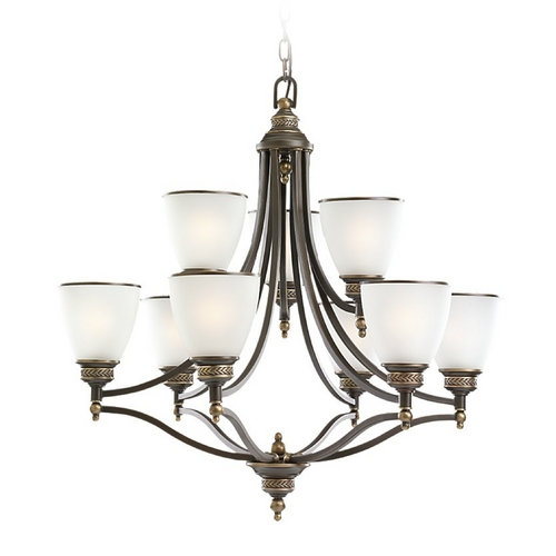 Sea Gull Lighting Chandelier with White Glass in Estate Bronze Finish 31351-708