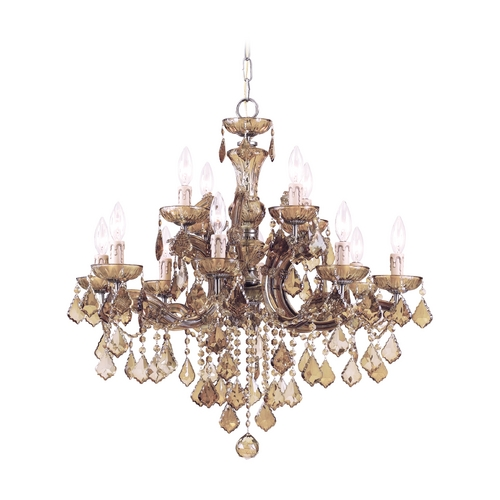 Crystorama Lighting Crystal Chandelier in Antique Brass Finish 4479-AB-GT-MWP