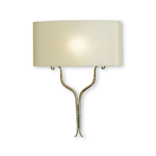 Currey and Company Lighting Modern Sconce Wall Light in Silver Granello Finish 5908