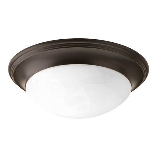 Progress Lighting Flushmount Light with Alabaster Glass in Antique Bronze Finish P3689-20