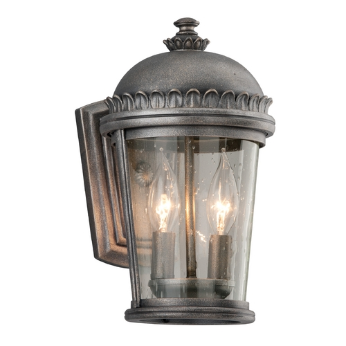 Troy Lighting Outdoor Wall Light with Clear Glass in Aged Pewter Finish B3561