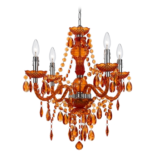 AF Lighting Mini-Chandelier with Swag Kit in Orange Finish 8682-4H