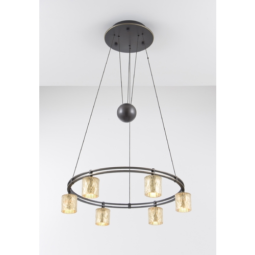 Holtkoetter Lighting Holtkoetter Modern Low Voltage Pendant Light with Orange Glass in Hand-Brushed Old Bronze Finish 5556 HBOB G5030