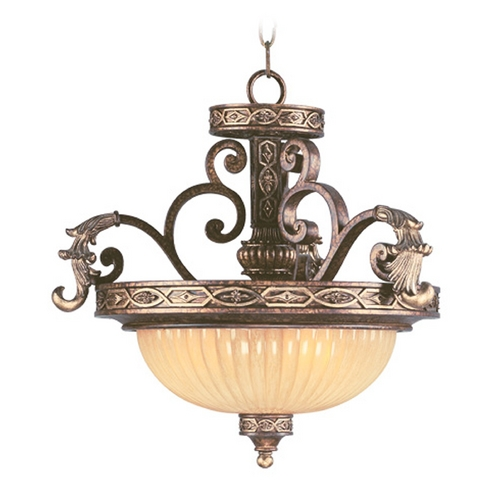 Livex Lighting Livex Lighting Seville Palacial Bronze with Gilded Accents Pendant Light with Bowl / Dome Shade 8547-64