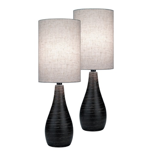 Lite Source Lighting Lite Source Quatro Brushed Dark Bronze Table Lamp Set LS-2997/2PK