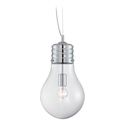Lite Source Lighting Lite Source Lighting Bubba Chrome Pendant Light with Globe Shade LS-19888