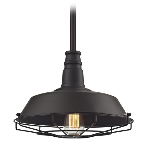 Elk Lighting Elk Lighting Warehouse Pendant Oil Rubbed Bronze Pendant Light with Bowl / Dome Shade 67046/1
