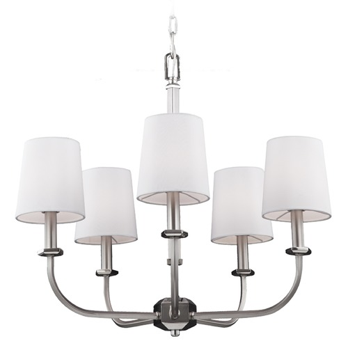 Feiss Lighting Feiss Lighting Pentagram Satin Nickel / Polished Nickel Chandelier F3050/5SN/PN