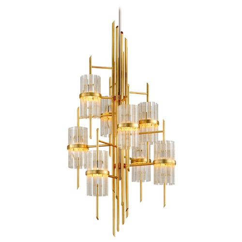 Corbett Lighting Corbett Lighting Gold Leaf with Polished Stainless Chandelier 257-78