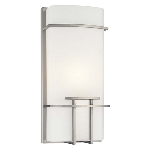 George Kovacs Lighting Modern Sconce Wall Light with White Glass in Brushed Nickel Finish P465-084