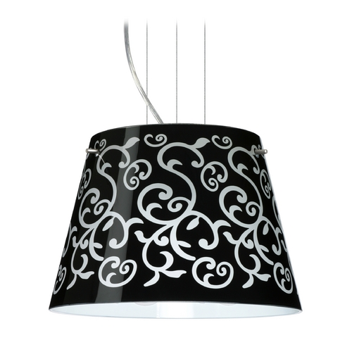 Besa Lighting Modern Drum Pendant Light with Black Glass in Satin Nickel Finish 1KG-4393BD-SN