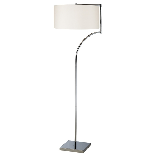 Elk Lighting Modern Floor Lamp with White Shade in Chrome Finish D1832