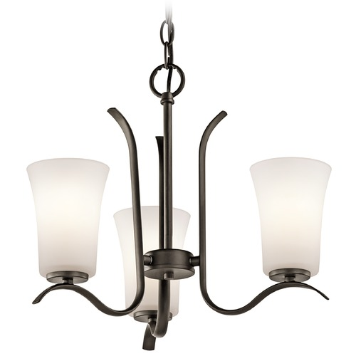 Kichler Lighting Kichler Mini-Chandelier with White Glass in Olde Bronze Finish 43073OZ