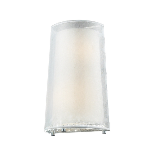 Elk Lighting Modern Sconce with White Fabric Shade in Polished Chrome Finish 10300/2