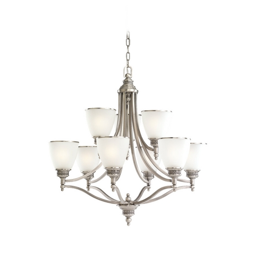Sea Gull Lighting Chandelier with White Glass in Antique Brushed Nickel Finish 31351-965