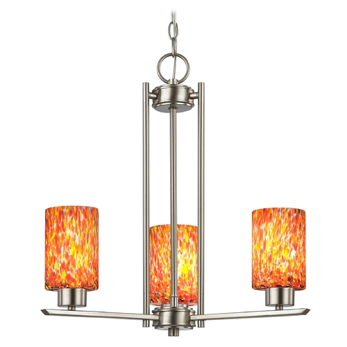 Design Classics Lighting Chandelier with Art Glass in Satin Nickel Finish - 3-Lights 1121-1-09 GL1012C