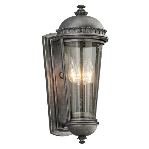 Troy Lighting Outdoor Wall Light with Clear Glass in Aged Pewter Finish B3562