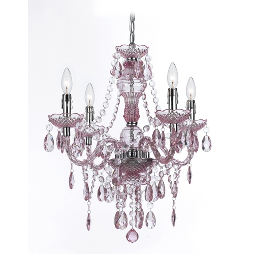 AF Lighting Mini-Chandelier with Swag Kit in Pink Finish 8683-4H
