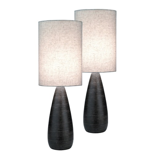 Lite Source Lighting Lite Source Quatro Brushed Dark Bronze Table Lamp Set LS-2999/2PK