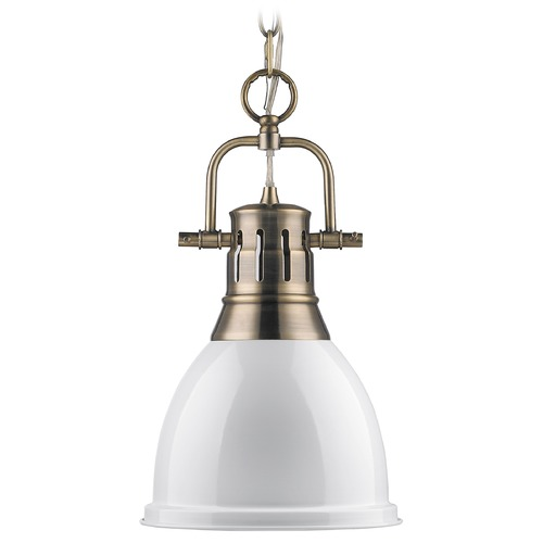 Golden Lighting Golden Lighting Duncan Aged Brass Mini-Pendant Light 3602-S AB-WH