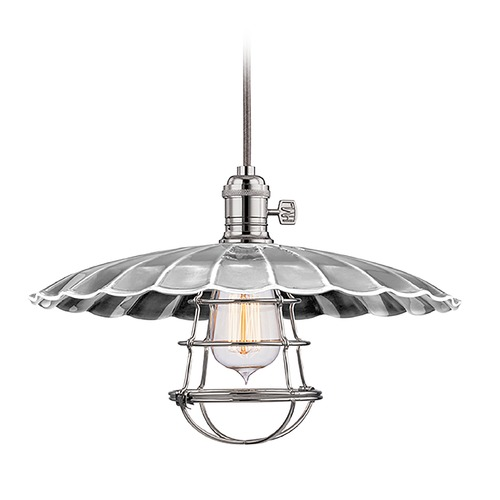 Hudson Valley Lighting Hudson Valley Lighting Heirloom Polished Nickel Pendant Light with Scalloped Shade 8001-PN-MM3-WG