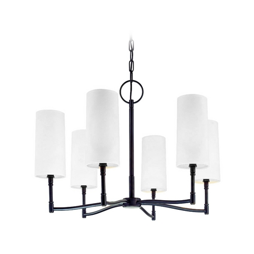 Hudson Valley Lighting Modern Chandelier with White Shades in Old Bronze Finish 366-OB