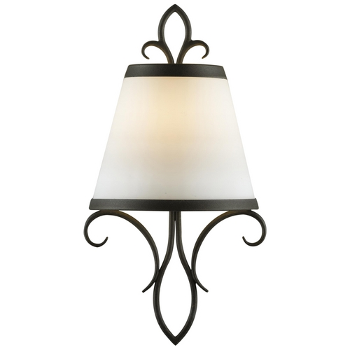 Feiss Lighting Sconce Wall Light with White Glass in Black Finish WB1486BK