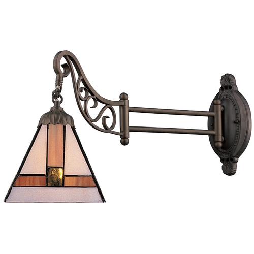 Elk Lighting Swing Arm Lamp with Tiffany Glass in Bronze Finish 079-TB-01