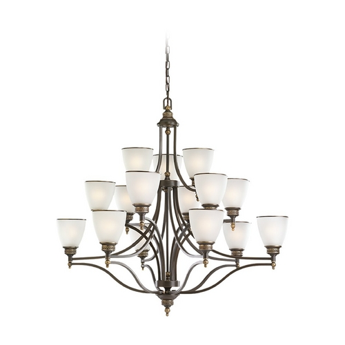 Sea Gull Lighting Chandelier with White Glass in Estate Bronze Finish 31352-708