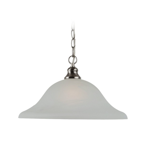 Sea Gull Lighting Pendant Light with Alabaster Glass in Brushed Nickel Finish 65940-962