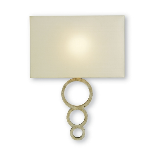 Currey and Company Lighting Modern Sconce Wall Light in Silver Granello Finish 5906
