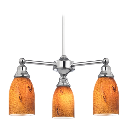 Design Classics Lighting Mini-Chandelier with Brown Art Glass in Chrome Finish 598-26 GL1001D
