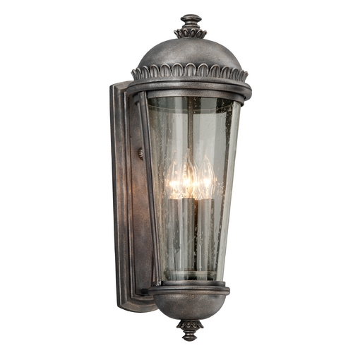 Troy Lighting Outdoor Wall Light with Clear Glass in Aged Pewter Finish B3563
