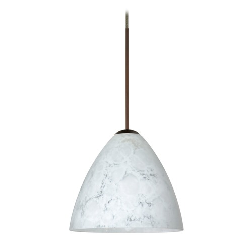 Besa Lighting Besa Lighting Mia Bronze LED Mini-Pendant Light with Bell Shade 1XT-177919-LED-BR