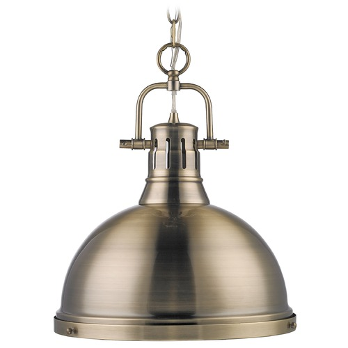 Golden Lighting Golden Lighting Duncan Aged Brass Pendant Light with Bowl / Dome Shade 3602-L AB-AB