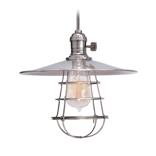 Hudson Valley Lighting Hudson Valley Lighting Heirloom Polished Nickel Pendant Light with Coolie Shade 8001-PN-MS1-WG